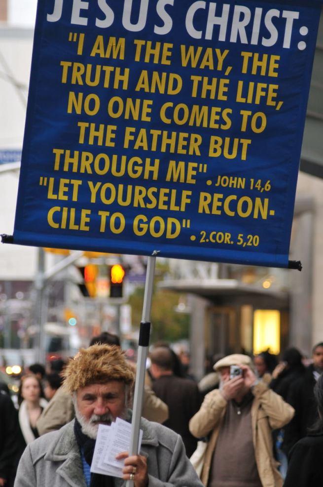 Promoting jesus on the streets over Toronto, Ontario.