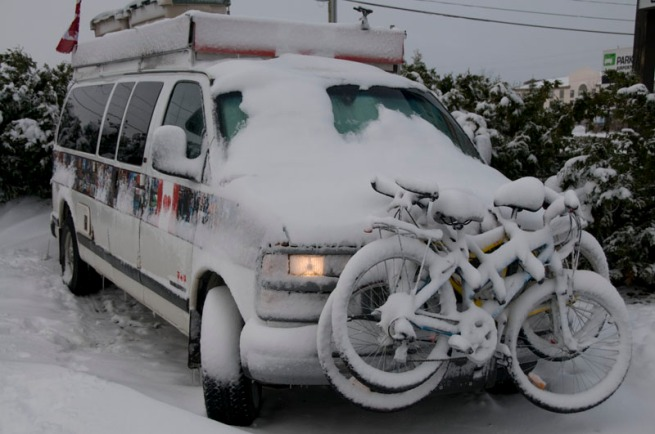 van-in-snow