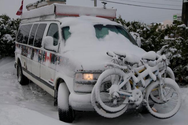 van-in-snow