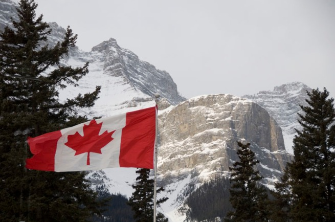 canada-flag-in-banff-parkway