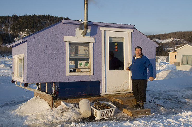 Day 149 of a 365 day portrait of canada st fulgence ice for Ice fishing shacks