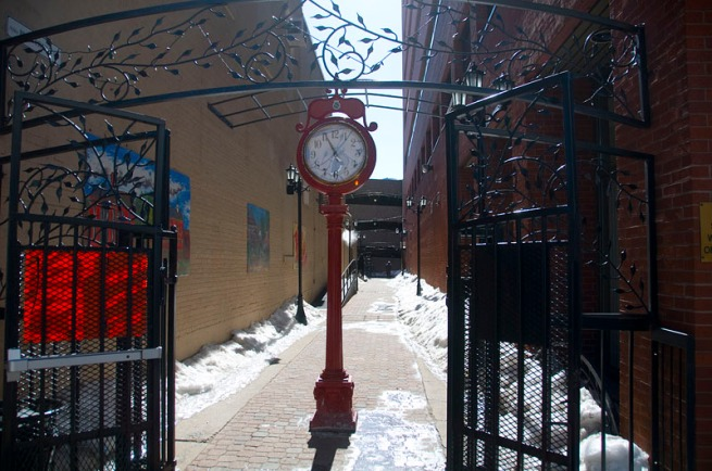 red-clock-in-fredericton