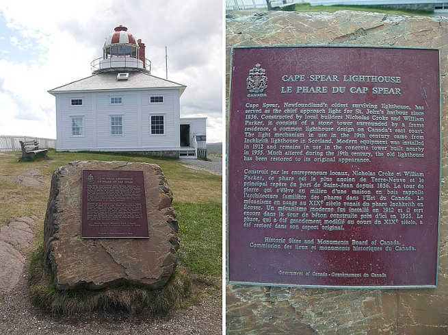 cape spear lighthouse plaque