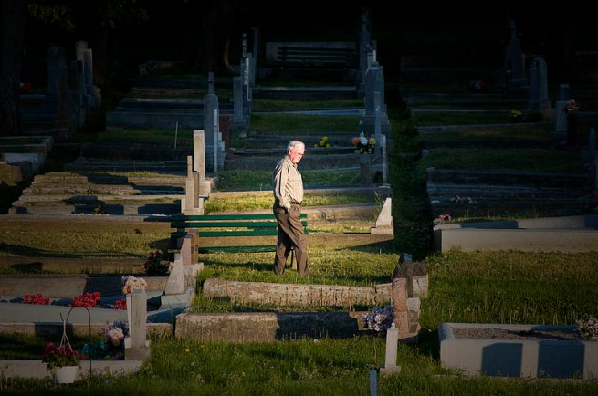 man walking in st john's cemetery