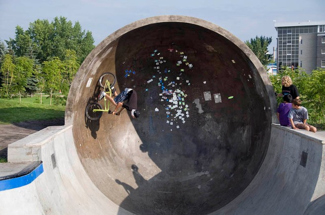 biking in tube