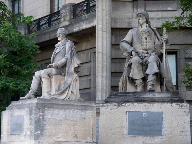 statues east side of Manitoba Legislative Building